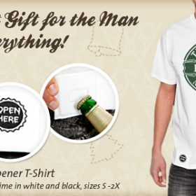 For the Practical Man- The Men's Bottle Cap Opener T-Shirt