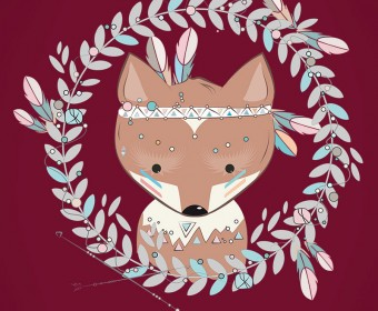 Little fox with feather headdress