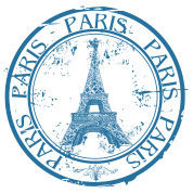 Paris Travel Stamp By