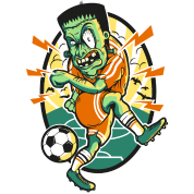 Frankenstein Plays Soccer Ball Cartoon By Andriy