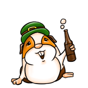 Guinea Pig Drinking Beer St. Patrick's Day Pun