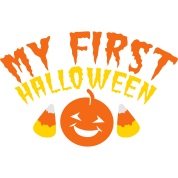 my first halloween with candy corn and pumpkin