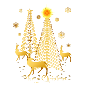 gold christmas trees and reindeer - Gold Christmas Trees