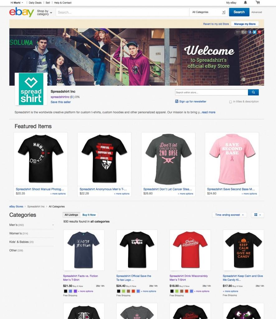 Spreadshirt's US eBay store