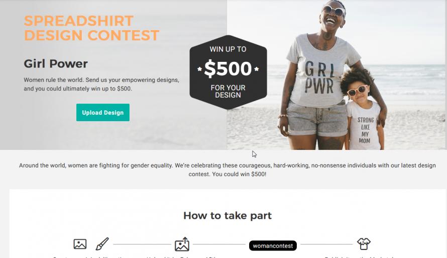 Screenshot design competition Girl Power Spreadshirt