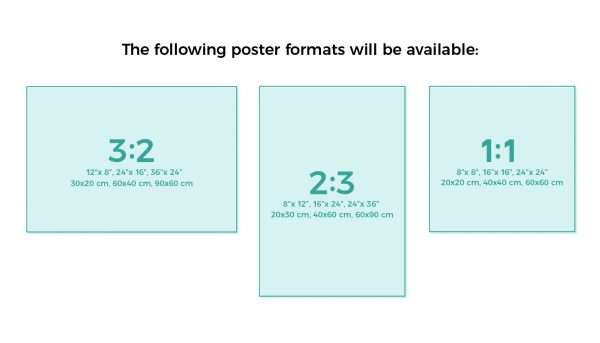 Poster and wall art size overview for Spreadshirt